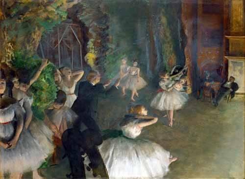 cuadros-de-retrato - Cuadro -Repetition D un Ballet Sur La Scene, 1873-74- - Degas, Edgar