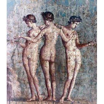 cuadros de desnudos - Cuadro -Las tres Gracias- Frescos de Pompeya- - _Anónimo Romano