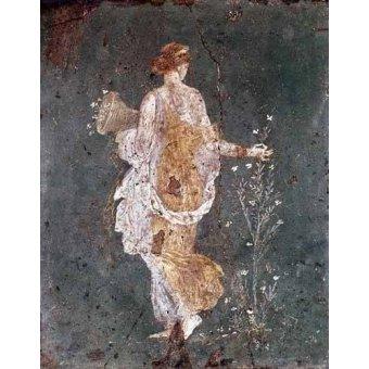 - Cuadro -Muchacha recogiendo flores, (Pompeya)- - _Anónimo Romano