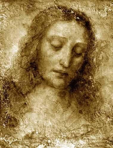 cuadros-religiosos - Cuadro -La Cara De Cristo- - Vinci, Leonardo da