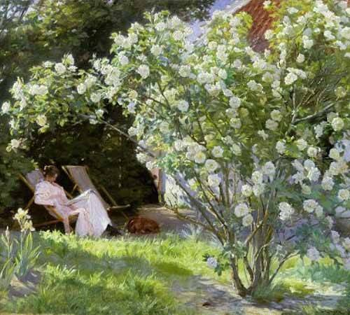 cuadros-de-flores - Cuadro -Line Roses (The artists wife at Skagen)- - Kroyer, Peder Severin