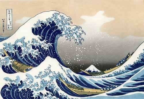 cuadros-etnicos-y-oriente - Cuadro -Tsunami- - Hokusai, Katsushika