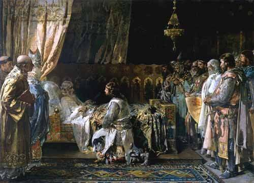cuadros-de-retrato - Cuadro -Los ultimos momentos del rey Don Jaime I El Conquistador- - Pinazo y Camarlench, Ignacio
