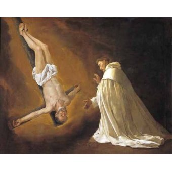 cuadros religiosos - Cuadro -Aparicion de San Pedro Apostol a San pedro Nolasco- - Zurbaran, Francisco de