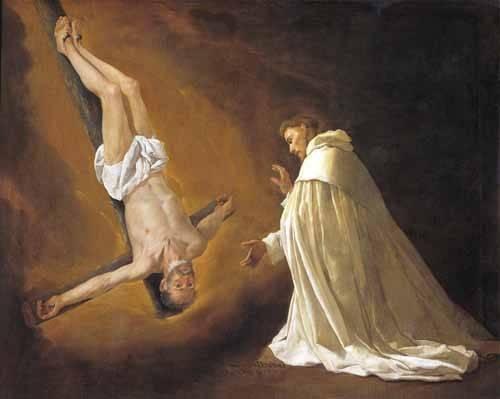 cuadros-religiosos - Cuadro -Aparicion de San Pedro Apostol a San pedro Nolasco- - Zurbaran, Francisco de