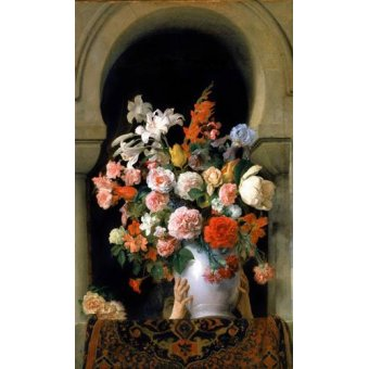 cuadros de flores - Cuadro -Vase of flowers on a harem s window- - Hayez, Francesco