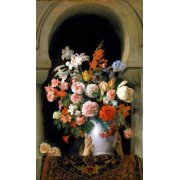 Cuadro -Vase of flowers on a harem s window-