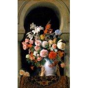 Cuadro -Vase of flowers on a harem s window-