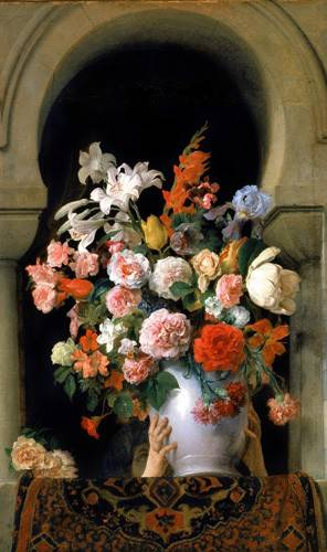 cuadros-de-flores - Cuadro -Vase of flowers on a harem s window- - Hayez, Francesco