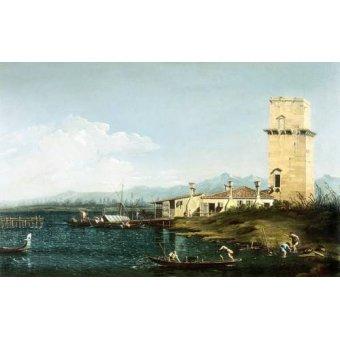 cuadros de marinas - Cuadro -La torre di Marghera- - Canaletto, Giovanni A. Canal