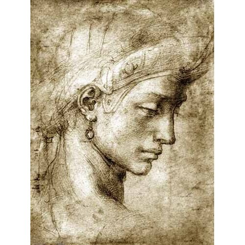 cuadros de mapas, grabados y acuarelas - Cuadro -Cabeza femenina con pendiente-