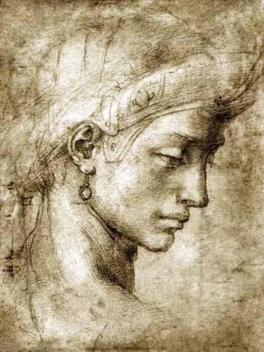 cuadros-de-mapas-grabados-y-acuarelas - Cuadro -Cabeza femenina con pendiente- - Buonarroti, Miguel Angel