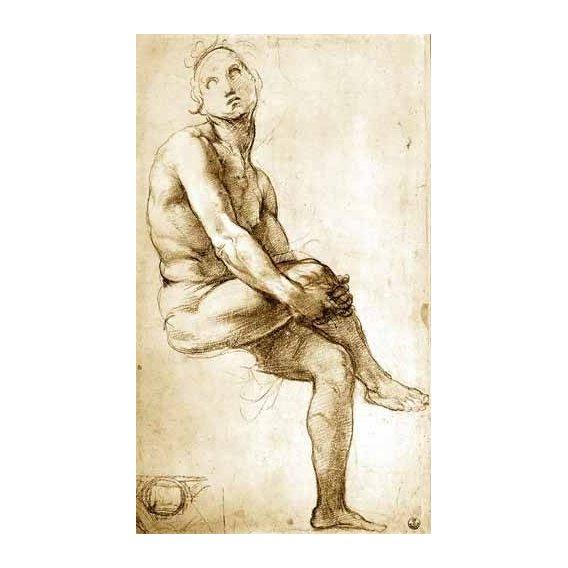 cuadros de mapas, grabados y acuarelas - Cuadro -Desnudo masculino sentado-