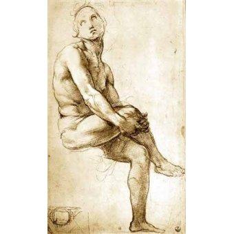 cuadros de mapas, grabados y acuarelas - Cuadro -Desnudo masculino sentado- - Rafael, Sanzio da Urbino Raffael