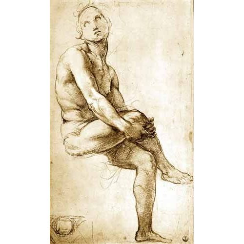 Cuadro -Desnudo masculino sentado-