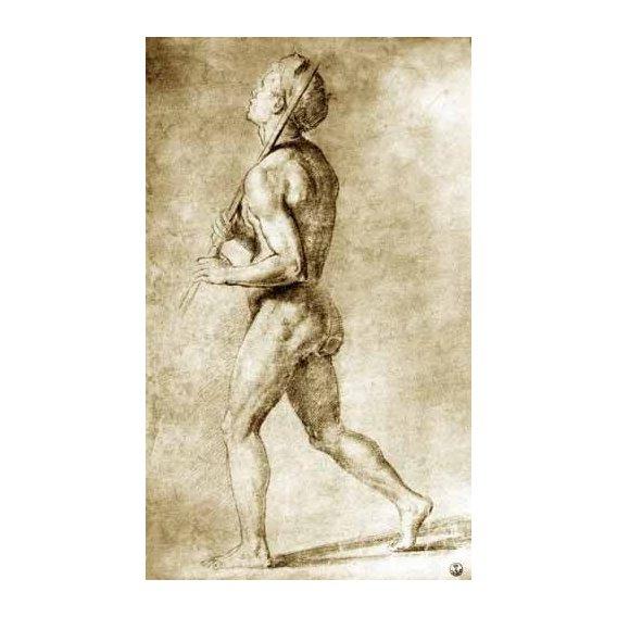 cuadros de mapas, grabados y acuarelas - Cuadro -Estudio de desnudo masculino-