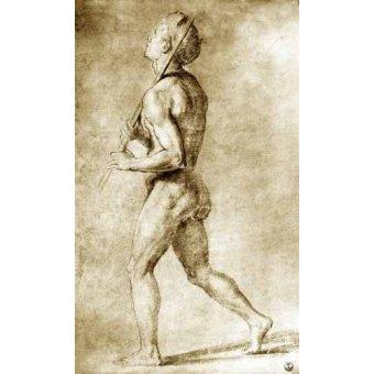 cuadros de mapas, grabados y acuarelas - Cuadro -Estudio de desnudo masculino- - Rafael, Sanzio da Urbino Raffael
