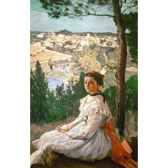 - Cuadro -Girl in a striped dress- - Bazille, Frederic