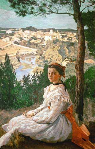 cuadros-de-paisajes - Cuadro -Girl in a striped dress- - Bazille, Frederic