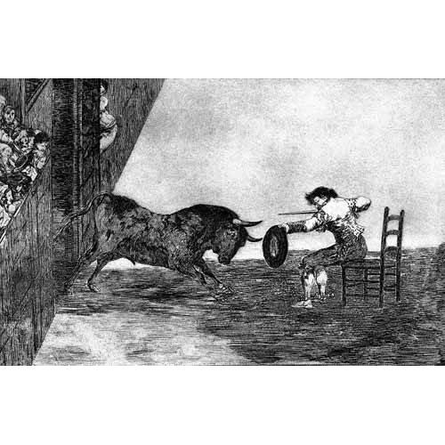 cuadros de mapas, grabados y acuarelas - Cuadro -Tauromaquia Num 18 - Temeridad de Martincho-