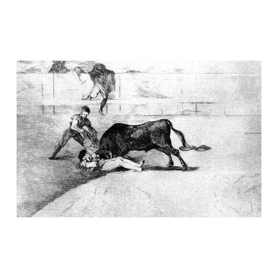 cuadros de mapas, grabados y acuarelas - Cuadro -Tauromaquia Num 33 - Desgraciada muerte de Pepe Illo-