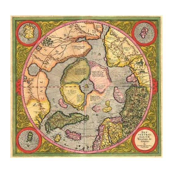 cuadros de mapas, grabados y acuarelas - Cuadro -Antique Map, Mercator North Pole-