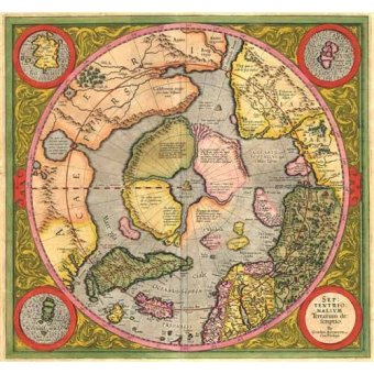 cuadros de mapas, grabados y acuarelas - Cuadro -Antique Map, Mercator North Pole- - Mapas antiguos - Anciennes cartes