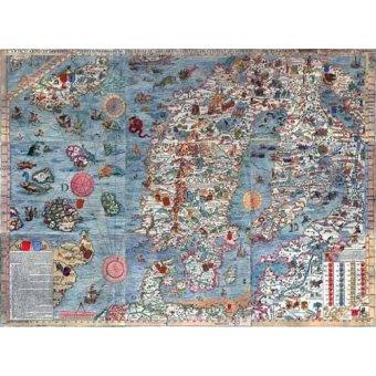 cuadros de mapas, grabados y acuarelas - Cuadro -Carta Marina, Edited- - Mapas antiguos - Anciennes cartes