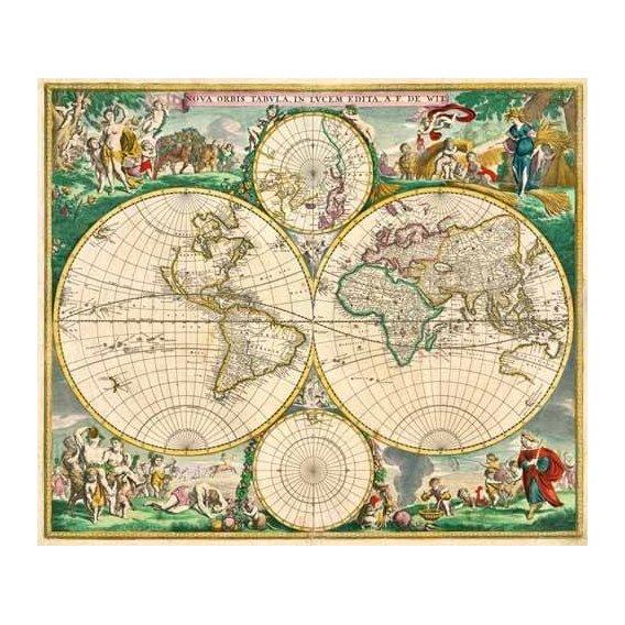 cuadros de mapas, grabados y acuarelas - Cuadro -Nova Orbis de Wit, 1670-