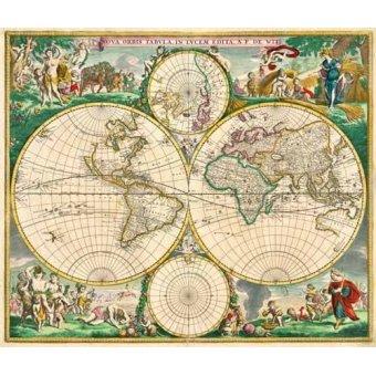 cuadros de mapas, grabados y acuarelas - Cuadro -Nova Orbis de Wit, 1670- - Mapas antiguos - Anciennes cartes