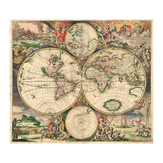 cuadros de mapas, grabados y acuarelas - Cuadro -Gerard van Schagen, World Map 1689-