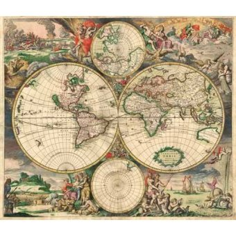 - Cuadro -Gerard van Schagen, World Map 1689- - Mapas antiguos - Anciennes cartes