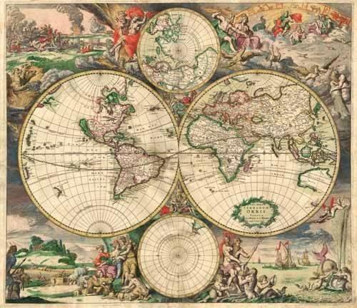 cuadros-de-mapas-grabados-y-acuarelas - Cuadro -Gerard van Schagen, World Map 1689- - Mapas antiguos - Anciennes cartes