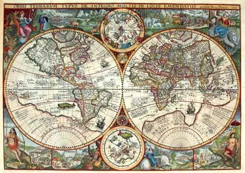 cuadros-de-mapas-grabados-y-acuarelas - Cuadro -1594, Orbis Plancius- - Mapas antiguos - Anciennes cartes