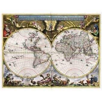 cuadros de mapas, grabados y acuarelas - Cuadro -Nova et Accuratissima Terrarum Orbis Tabula (J_Blaeu, 1664)- - Mapas antiguos - Anciennes cartes