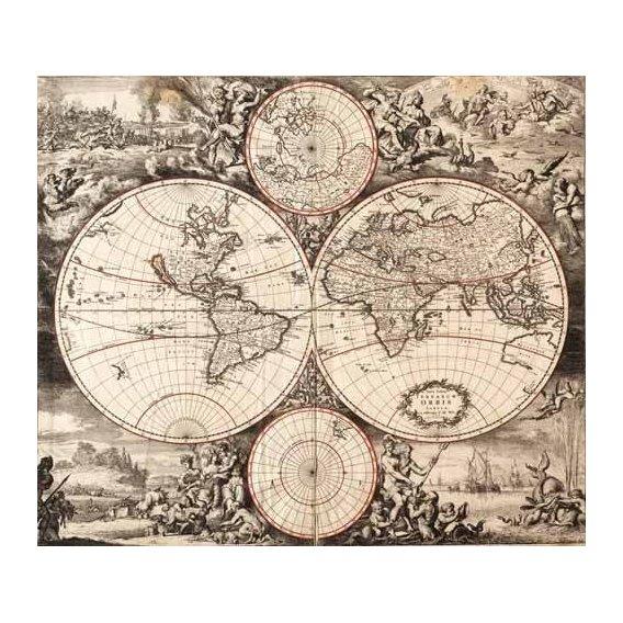 cuadros de mapas, grabados y acuarelas - Cuadro -Nova totius terrarium orbis (De Wit, Luyken, De Hooghe)-