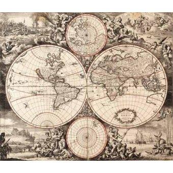 cuadros de mapas, grabados y acuarelas - Cuadro -Nova totius terrarium orbis (De Wit, Luyken, De Hooghe)- - Mapas antiguos - Anciennes cartes