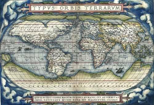 cuadros-de-mapas-grabados-y-acuarelas - Cuadro -Ortelius World Map, 1570- - Mapas antiguos - Anciennes cartes