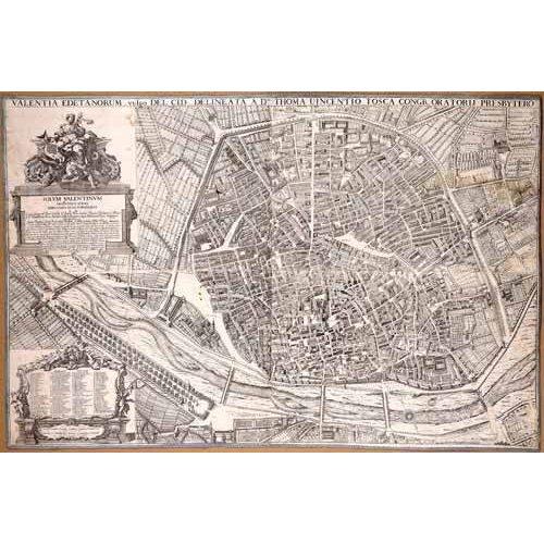 cuadros de mapas, grabados y acuarelas - Cuadro -Plano de Valencia del Padre Tosca, 1704-