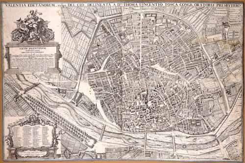 cuadros-de-mapas-grabados-y-acuarelas - Cuadro -Plano de Valencia del Padre Tosca, 1704- - Mapas antiguos - Anciennes cartes