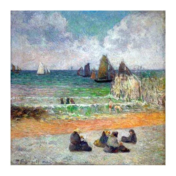 cuadros de marinas - Cuadro -La plage a Dieppe ou les Baigneuses, 1885-