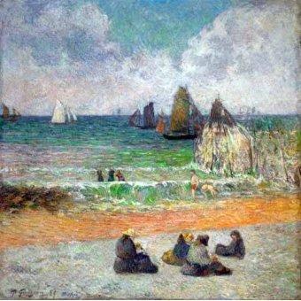 cuadros de marinas - Cuadro -La plage a Dieppe ou les Baigneuses, 1885- - Gauguin, Paul