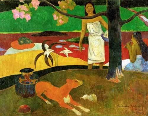 cuadros-de-paisajes - Cuadro -Tahitian Idyll- - Gauguin, Paul