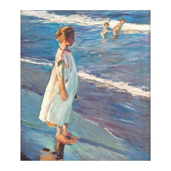 cuadros de retrato - Cuadro -Niña en la playa-