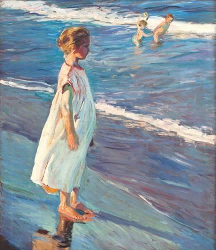 cuadros-de-retrato - Cuadro -Niña en la playa- - Sorolla, Joaquin