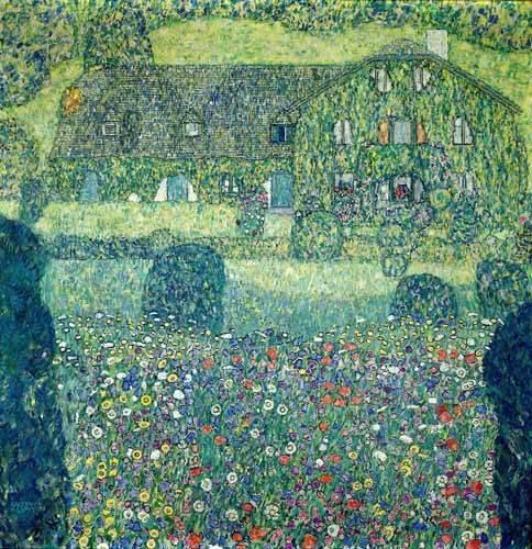 cuadros-de-paisajes - Cuadro -Landhaus am Attersee- - Klimt, Gustav