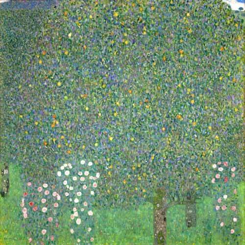 cuadros-de-paisajes - Cuadro -Roses under the trees, 1918- - Klimt, Gustav