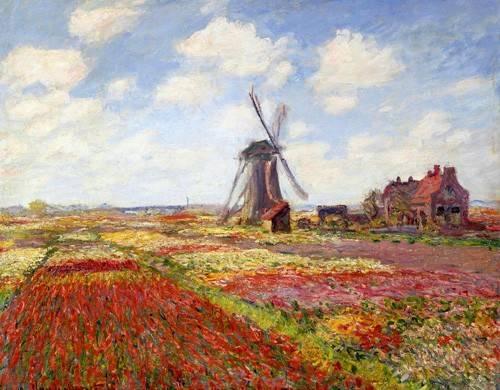 cuadros-de-paisajes - Cuadro -Tulip Fields with the Rijnsburg Windmill, 1886- - Monet, Claude