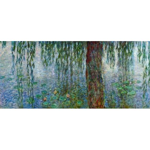 Cuadro -Waterlilies, Morning with Weeping Willows, (left section)-
