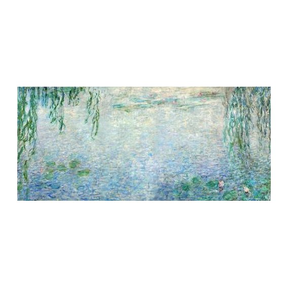 cuadros de paisajes - Cuadro -Waterlilies, Morning with Weeping Willows, (central section)-